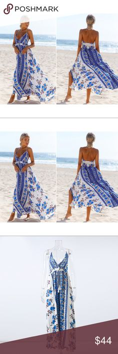 Boho Floral Print Maxi Dress A Boho Floral Print Maxi v-neck dress. Featuring a fit and flare silhouette with an empire waistline. Perfect dress for the summer or beach!  ▪️Material(s): cotton, Polyester ▪️Size: Please see size chart for measurement details before ordering ▪️Condition: New Dresses Maxi