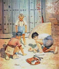 """""""El título de ésta es """"Niños jugando a las bolas"""" De Antonio López Torres. Se ve a tres niños jugando a un juego muy lúdico, sencillo y popular de la postguerra, """"las bolas o canicas"""" a la salida del colegio  Actualmente, podría ser el contraste entre como los niños, antes, con pocos elementos creaban un juego, y ahora tienen un sinfín de juegos y no saben ni con qué ni a qué jugar"""""""