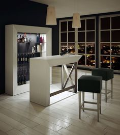 There comes a time in every adult's life when a bar cart just won't do anymore. In which case, it might be time to upgrade to a bar cabinet. Home Bar Counter, Bar Counter Design, Bar Table Design, Bar Furniture For Sale, Home Bar Furniture, Furniture Ideas, Apartment Furniture, Modern Home Bar Designs, Modern Bar