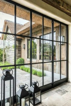 Steel door frame entrance black windows 23 Ideas for 2019 Steel Doors And Windows, Black Windows, Black Doors, Thatched Roof, House Entrance, Patio Doors, Black House, Architecture, Glass Door