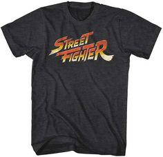 Mens Street Fighter Logo Black Heather T-Shirt
