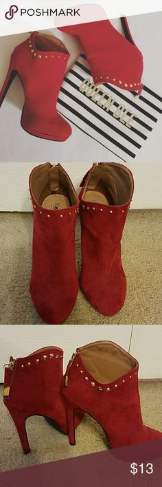 "Studded Booties Mission dark red round toe faux suede booties adorned with gold studs at top. Zips up back. 5"" heel. Only worn once in like new condition. Mossimo Supply Co. Shoes Ankle Boots & Booties"