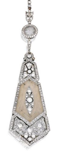 PLATINUM, 18 KARAT GOLD, ROCK CRYSTAL AND DIAMOND LORGNETTE, FRANCE Composed of rock crystal carved with scrollwork motifs, suspended from a chain decorated with four carved rock crystal discs of floral design, set with old European, rose and single-cut diamonds weighing approximately 8.20 carats, internal circumference 23½ inches, the lorgnette with French assay and workshop marks; pendant detachable; circa 1915.
