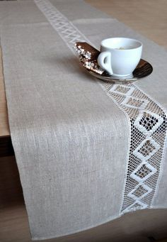 Lacey Natural Organic Linen Gray / White Table by LinenLifeIdeas dresses by occasions Linen table Runner wedding party table decor runner Rustic Runner Lace Table Decor Natural Linen Runner Cottage Table Runner Event runner Vintage Home Decor, Rustic Decor, Modern Decor, Modern Design, Welcome Home Parties, Lino Natural, Table Cafe, Diy Table, Lace Table