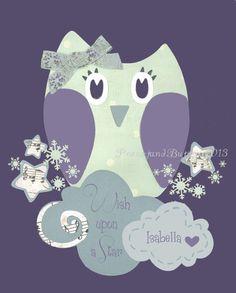 Gray Lavender nursery Baby girl nursery Owl by PeanutAndButtons-Got it!