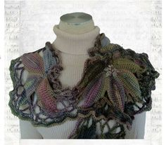 """From fan DeAnna Thompson McCall: """"I have finished yet another project using Boutique Unforgettable - a yarn that I am in love with. (I wish it came in about 50 colors!) This scarf was designed to bring to mind the lovely grape arbors and vineyards in France. The long color changes in this yarn allow for beautiful motifs, I think."""""""