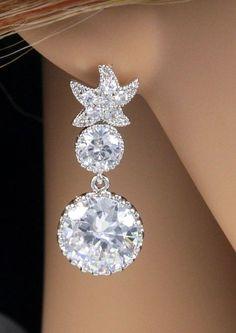 Starfish earrings, Cubic Zirconia Star Ear Post with round cz teardrop, Bridal, Crystal Wedding Earrings, Sparkle, Bridesmaid jewelry, Bridal Party, Beach Wedding, www.glitzandlove.com,  by GlitzAndLove