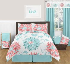 Twin bedding For Girls - Emma Turquoise and Coral Bedding Set Twin Girls 4 pc Lightweight Floral Comforter Set. Coral Bedding Sets, Queen Bedding Sets, Comforter Sets, Floral Comforter, Girls Twin Bed, Teen Girl Bedrooms, Girls 4, Twin Beds, Bed Sets