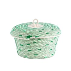 This little lidded basket will store your odds and ends in style! It's great for holding items on your bedside table. You can also use it for your bathroom essentials, jewellery, makeup, miscellaneous. African Traditions, Bathroom Essentials, Cotton Rope, Basket Weaving, Greenery, Polka Dots, Stitch, Cool Stuff, Bedside
