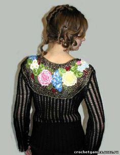 jacket of Zhostovo Russian Folk, Crochet Cardigan, Irish Crochet, Dresses With Sleeves, Blouse, Long Sleeve, Jackets, Tops, Women