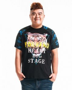 Tiger personalized printed t shirt plus size loose tee for men Tiger T Shirt, Tiger Print, Summer Sale, Cotton Tee, Plus Size Outfits, Tees, Shirts, Your Style, Street Style