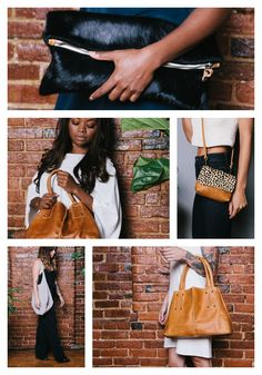 Ceri Hoover Handbags, Handmade with integrity and style in the South! Aren't they all fabulous? That black pony bag ($218) at the top just has me drooling, while the fabulous tan leather tote ($394) in the bottom right corner is that classic Ceri Hoover bag so many swear by. Images courtesy: Ceri Hoover.