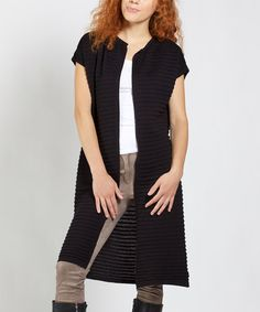 Loving this Black Short-Sleeve Open Cardigan on #zulily! #zulilyfinds