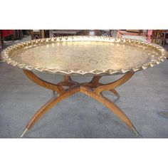Round Brass Tray Table with Folding Wooden Stand | Only $1950