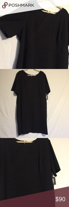 ELLEN TRACY Black Dress NWT Short sleeve dress with beautiful detail on the front. Stretch fabric with a good amount of shape to it. Perfect for work or a date night :)  Sold from a smoke and dog free home  Bundle 2 or more items and save 15% :) Ellen Tracy Dresses Midi
