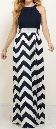 Chevron Halter Maxi Dress //