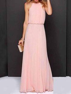 Pink Halter Maxi Dress – risechic.com