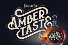 Amber Taste Font & Label Mockup