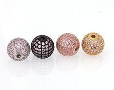 Wholesale Luxury Micro Pave Cubic Zirconia Crown Beads For Men Bracelet Making Jewelry Charm Rose Gold Color Brass Spacer Bead Jewelry & Accessories Beads & Jewelry Making