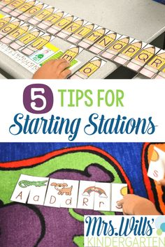 Starting Kindergarten Stations. Wondering how to start math and literacy centers to help your students increase their learning potential? Easy tasks for back to school and the beginning of the school year. Check out these 5 tips for starting stations!