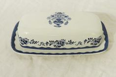 Johnson Brothers English Ironstone Covered Butter Dish, Stoke-On-Trent, Blue and White China, Holland Butter Dish, Blue White Decor by GinnysGirlsTreasures on Etsy
