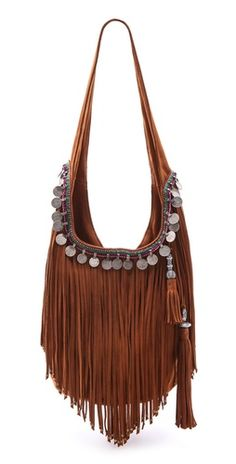 See this and similar Simone Camille shoulder bags - Exclusive to Shopbop. Shaggy fringe and antiqued coins trim a suede Simone Camille bucket bag. Estilo Hippie, Hippie Chic, Boho Chic, Gypsy Style, Boho Gypsy, Hippie Style, Gypsy Bag, Bohemian Style, Estilo Fashion