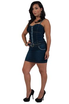 DJ2069 - Stylish, Sexy, Spaghetti Straps, Belted, Bodycon Denim Mini Dress in Dark Blue Size XL. Sizes are JUNIOR SIZES. Please order one size up if unsure. 83% Cotton, 14% Terylene, 3% Spandex. With Butt lift stitching. Belt Included. Machine washable.