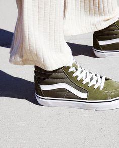 olive green vans hi-top sneakers