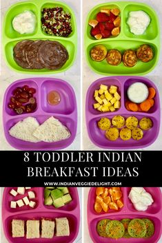8 Healthy Toddler Indian Breakfast Ideas are super fast to make with some prep-work and they are also filled with protein ,vitamins for growing toddlers. Picky Toddler Meals, Toddler Lunches, Kids Meals, Toddler Dinners, Toddler Food, Lunch Box Recipes, Baby Food Recipes, Indian Food Recipes, Toddler Recipes