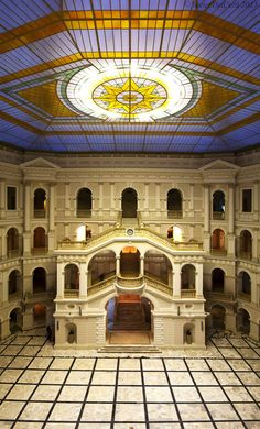 """Main Building of the """"Politechnika Warszawska University"""" (Warsaw, Poland)  The building is beautiful from outside, but as you can see, the most impressive part is the main hall."""