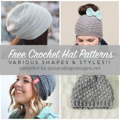 Use these free crochet hat patterns to make adorable crochet hats for all the women in your life - crochet slouchy hat patterns and more!