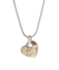 Two-Tone Textured Heart Pendant Necklace | zulily .  $14.99 $60.00 Product Description:  Two-tone textures lend artful appeal to this sweet pendant piece.      Chain: 15.5'' L with 2'' extender     Pendant: 1.25'' W x 1.75'' L     Lobster claw clasp     Zinc alloy     Imported
