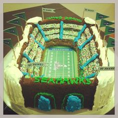 Seahawks Super Bowl stadium cake. Nordicware stadium bundt pan.