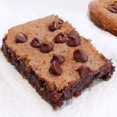 NO butter, NO flour, NO trans fat. Gooey Chocolate Chip Cookie Bars that are secretly healthy: http://chocolatecoveredkatie.com/2011/05/18/chocolate-chip-blondies-and-theyre-good-for-you/