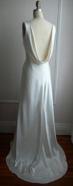 "1930's Inspired Bias Bridal Gown ""Ella"", Low back, Backless, Cowl neck, Heavy Silk Satin, Customizable. $1,558.00, via Etsy. (I think I just found my future wedding dress. :O OMFG )"