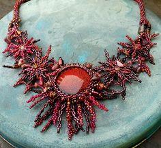 """Summer Evening"" necklace - dichroic glass, Preciosa Pellets, Preciosa Charlottes + seed beads, Delicas, TOHO Cubes, tourmaline chips."