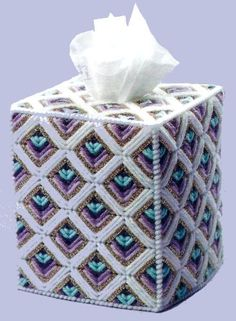 Plastic Canvas Box Patterns, Plastic Canvas Stitches, Plastic Canvas Coasters, Plastic Canvas Tissue Boxes, Plastic Canvas Crafts, Yarn Storage, Kleenex Box, Canvas Designs, Canvas Ideas