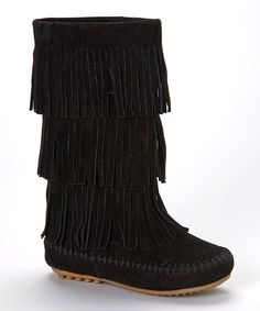 Black Triple-Tier Fringe Boot