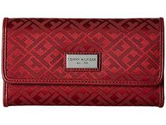 e95b845210de Tommy Hilfiger Women's Core Wallets Continental Wallet TH 88 Dark Cherry  Tonal Wallets