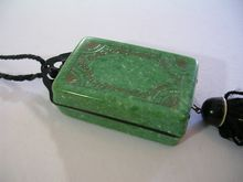 Art Deco 1920 Celluloid Compaq Make-Up Cosmetic Bag Purse Black Green Gold Collectible
