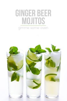 Ginger Beer Mojito - All you need are 4 ingredients and 1 minute to make this fresh and tasty drink! | gimmesomeoven.com #cocktail #mocktai...