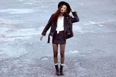 Wholesale7 Shirt, Thrift Store Leather Jacket, Thrift Store Skirt, Dr. Martens Boots