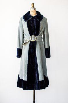 vintage 1940s mint blue and blue velvet coat