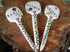 3 Herb Pottery Markers for the Garden.   By EnchantdMushroomLand