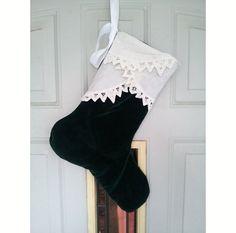 velvet+christmas+stocking+with++battenburg+by+RescueRemakeRemember,+$25.00