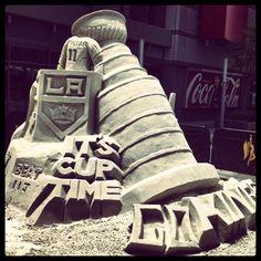 LA Kings sand art: Welcome back, Kings fans! Let's get the Stanley Cup back in LA! http://www.sportyshades.com/teams/nhl-blinds/los-angeles-kings/