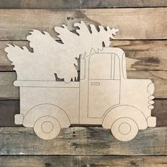 Christmas Tree in Truck Cutout, Unfinished Shape, Paint by Line Christmas Truck, Christmas Door, Christmas Balls, Christmas Wreaths, Christmas Decorations, Christmas Ornaments, Christmas Signs, Xmas, Funny Christmas