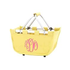 Collapsible Personalized Mini-Market Tote in Yellow