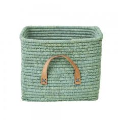 Rice Dk Mint Green coloured raffia square storage basket great update for any room, including the kids room or living room Soft Toy Storage, Toy Storage Bags, Storage Boxes, Nursery Storage Baskets, Display Boxes, Storage Ideas, Leather Handle, Tan Leather, Square Baskets