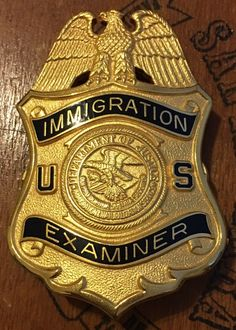 Examiner, Immigration, Department of Justice (G. Secret Agent Party, Law Enforcement Badges, Police Badges, Attack On Titan Funny, Department Of Justice, Police Officer, Porsche Logo, Patches, Detective